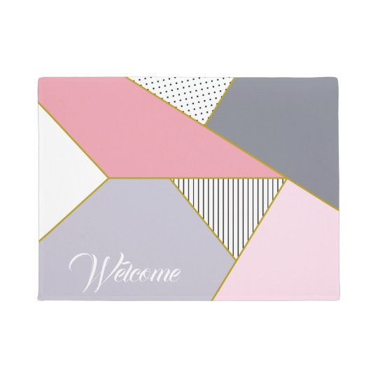 Elegant geometric stripes polka dots pastel doormat