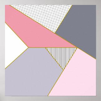 Elegant geometric stripes polka dots pastel poster