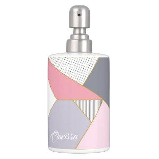 Elegant geometric stripes polka dots pastel soap dispenser and toothbrush holder