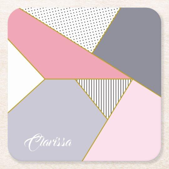 Elegant geometric stripes polka dots pastel square paper