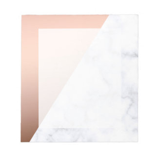 elegant geometric white marble rose gold foil notepads