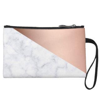 elegant geometric white marble rose gold foil wristlet purses