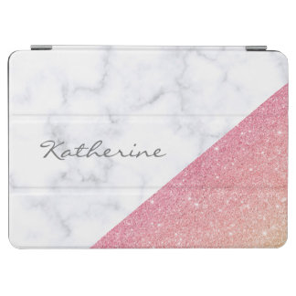 Elegant geometric white marble rose gold glitter iPad air cover