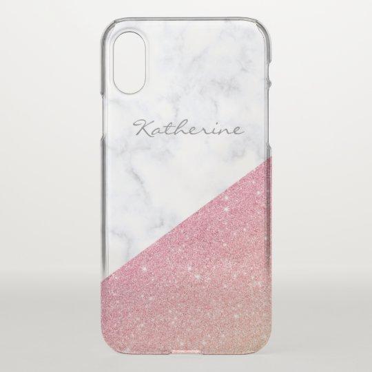 Elegant geometric white marble rose gold glitter iPhone