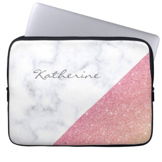 Elegant geometric white marble rose gold glitter laptop sleeve