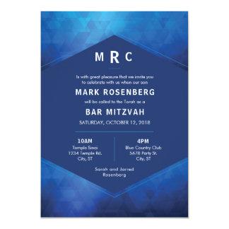 Elegant Geometric with Diamond Texture Bar Mitzvah Card