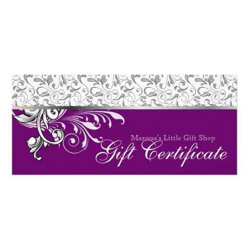 Elegant Gift Certificate Retail Floral Purple Custom Rack Cards