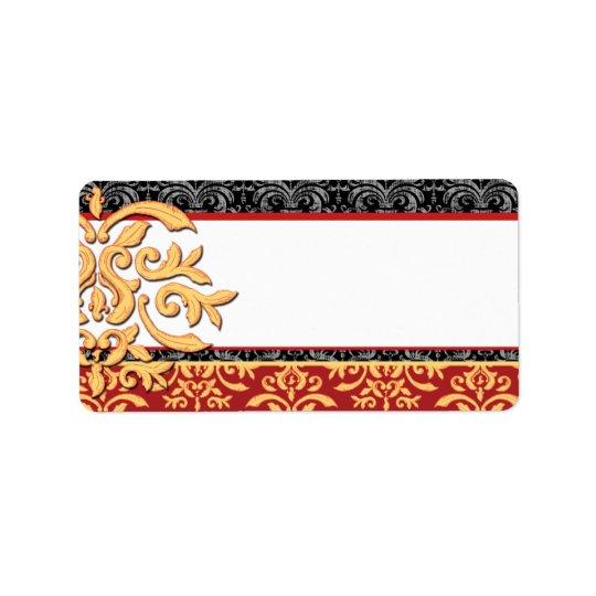 Elegant Gilded Damask Ornamental Red & Gold Label