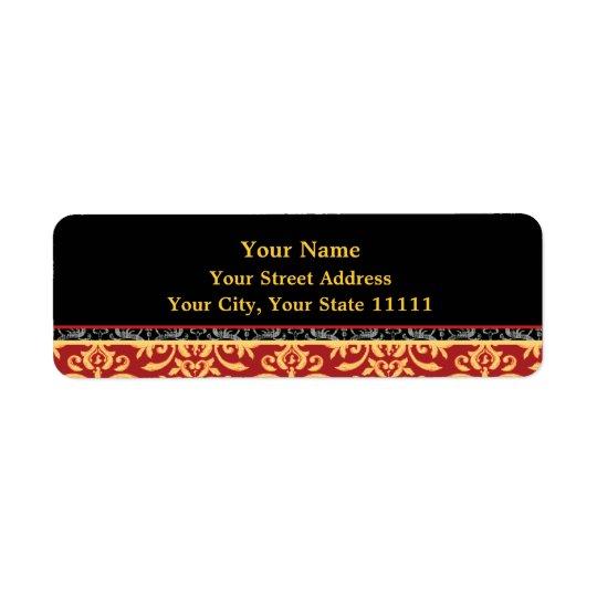 Elegant Gilded Damask Red, Black and Gold Return Return Address Label