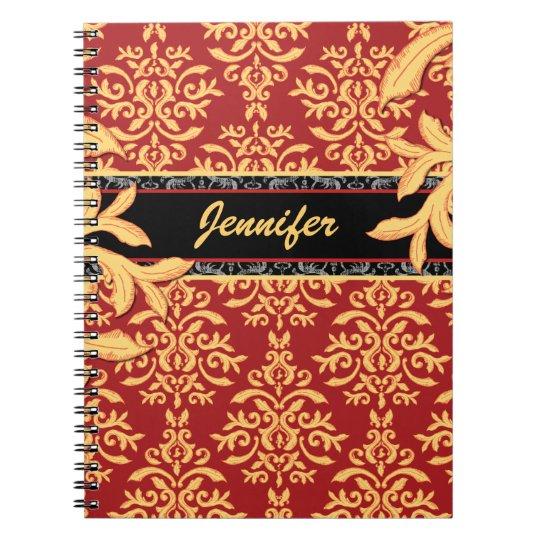 Elegant Gilded Red and Gold Damask Notebook