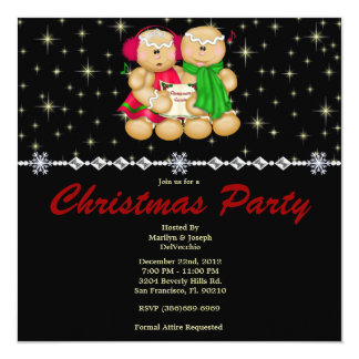 Elegant Gingerbread Family and Stars CUTE Christma 13 Cm X 13 Cm Square Invitation Card
