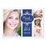 Elegant Girl 4 Photo Blue & White Graduation 13 Cm X 18 Cm Invitation Card