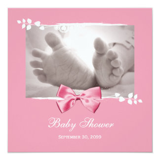 Elegant Girl Baby Shower Baby Feet With Pink Bow 5.25x5.25 Square Paper Invitation Card