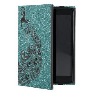 Elegant Girly Aqua Glitter Black Peacock iPad Case