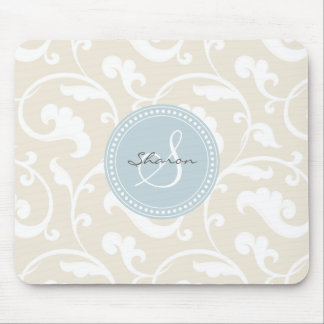 Elegant girly beige floral pattern monogram mouse pad