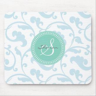 Elegant girly blue floral pattern monogram mouse pads