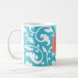Elegant girly blue floral pattern monogram basic white mug