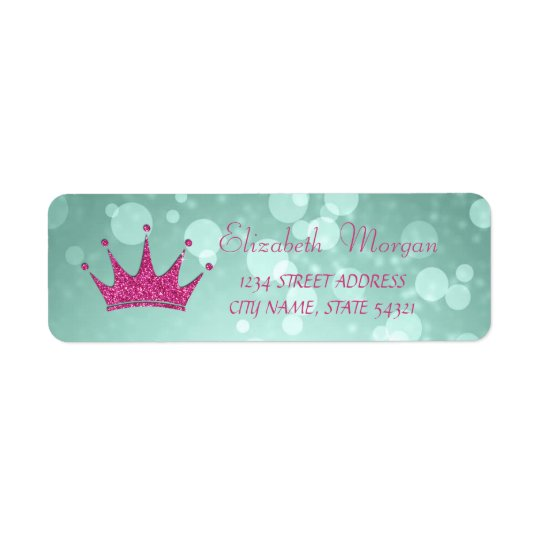 Elegant Girly  Bokeh,Glittery Tiara  Address Label