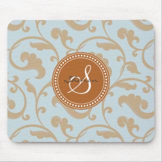 Elegant girly caramel floral pattern monogram mouse pad