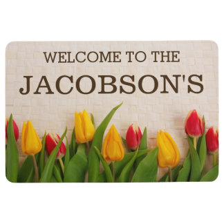 Elegant Girly Chic Floral Family Name Personalized Floor Mat