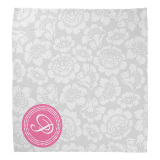 Elegant Girly Floral Gray & Pink Personalized Bandana