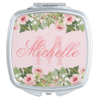 Elegant & girly floral name / monogram mirror vanity mirror