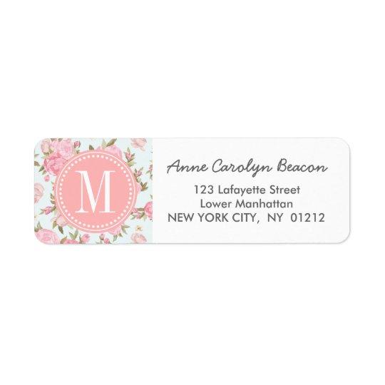 Elegant Girly Floral Vintage Personalised Return Address Label