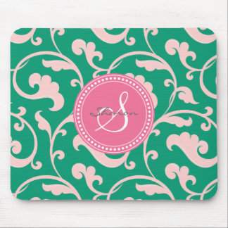 Elegant girly green pink floral pattern monogram mouse pad