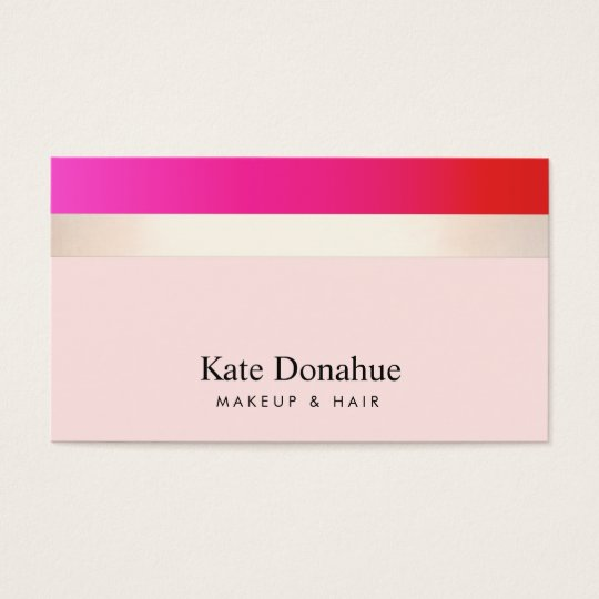 Elegant Girly Hot Pink Gold Striped Cosmetologist Business