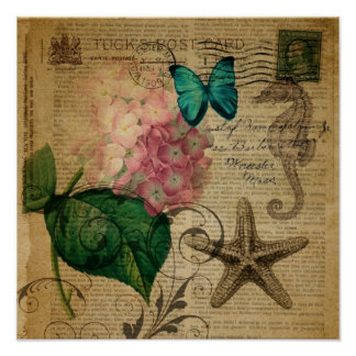 elegant girly Hydrangea butterfly vintage paris Posters