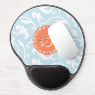 Elegant girly light blue floral pattern monogram gel mouse pad