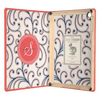 Elegant girly orange blue floral pattern monogram iPad air cover