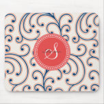 Elegant girly orange blue floral pattern monogram mouse pads