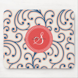 Elegant girly orange blue floral pattern monogram mouse pad