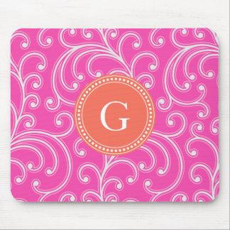 Elegant girly pink floral pattern monogram mousepads