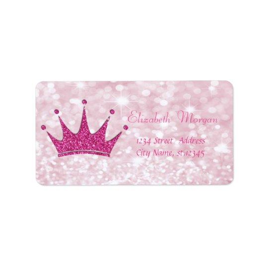 Elegant Girly  Pink Glittery,Bokeh, Tiara Label