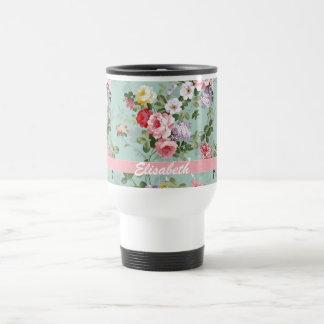 Elegant Girly Pink Red Roses Monogram 15 Oz Stainless Steel Travel Mug