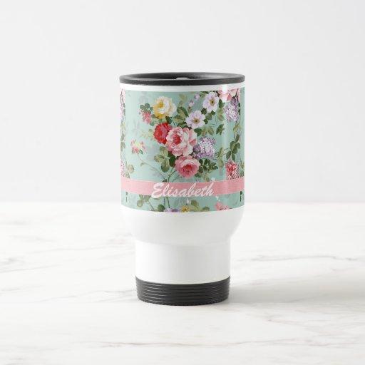 Elegant Girly Pink Red Roses Monogram Coffee Mugs