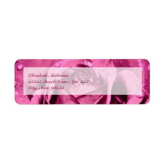 Elegant Girly Pink Rose Return Address Label