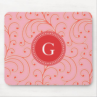 Elegant girly red floral pattern monogram mouse pads