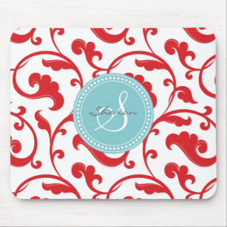 Elegant girly red floral pattern monogram mouse pad