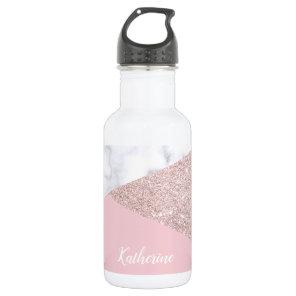 Elegant girly rose gold glitter white marble pink 532 ml water bottle