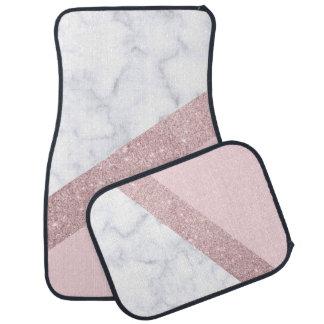 elegant girly rose gold glitter white marble pink car mat