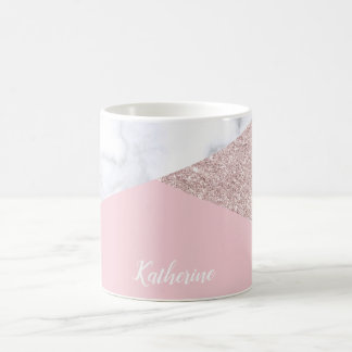 Elegant girly rose gold glitter white marble pink coffee mug