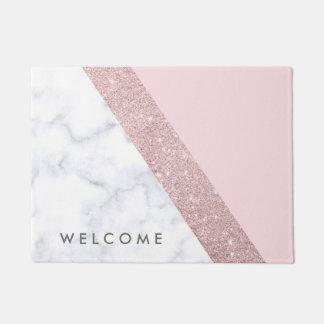 elegant girly rose gold glitter white marble pink doormat