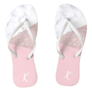 Elegant girly rose gold glitter white marble pink flip flops