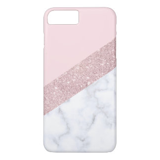 elegant girly rose gold glitter white marble pink iPhone 8 plus/7 plus case