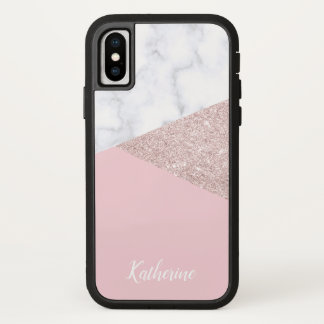 Elegant girly rose gold glitter white marble pink iPhone x case