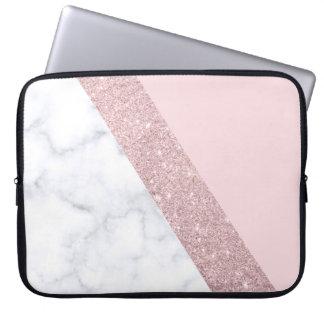 elegant girly rose gold glitter white marble pink laptop sleeve