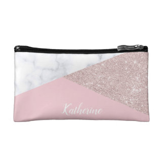 Elegant girly rose gold glitter white marble pink makeup bag